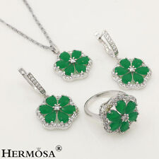 75% OFF 925 Sterling Silver Genuine Green Emerald Set Necklace Earrings Ring s.8