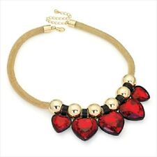 RED HEART STATEMENT NECKLACE SNAKE COLLAR N29486 GOLD TONE COLLAR