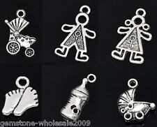 W09 30 Mixed Silver Tone Baby Charms Pendants