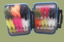 24 Dog Nobbler/Conehead Trout Flies in a Clear Lid lid fly box, Great Selection