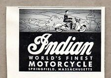 1947 Print Ad Indian World's Finest Motorcycles Made in Springfield,MA