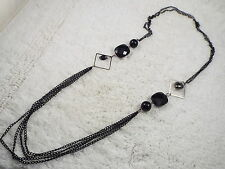 Black Bead Chain Necklace (D76)