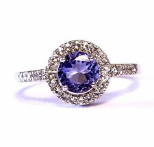 10k white gold halo purple tanzanite sapphire ring 3.3g estate vintage antique