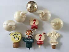 10  Vtg Spout Pourers: Seagram's 7 VO  Bengal Gin Three Feathers Old Mr Boson