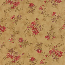 Moda Atelier 3 Sister's Gold Chamois Red Gray Flower Floral Fabric 4 Yds