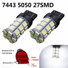 2x White 7443 7440 7444NA T20 27 SMD 5050 Stop Tail Brake LED Lights Bulbs Lamps