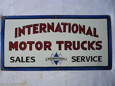 Vintage Porcelain International Motor Trucks Sales And Service Enamel Sign.