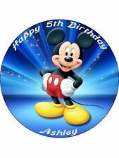 "Mickey Mouse 7.5"" Rice Paper Birthday Cake Topper MBLUE"