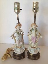 Vintage Porcelain Bisque Boy & Girl Table Top Lamp W/O Shade