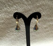 9mm Tahitian Black Pearl 14K Solid Yellow Gold Lever Back Earrings