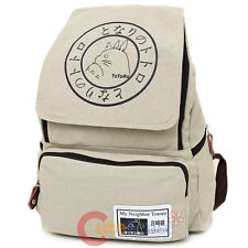 "My Neighbor Totoro School Backpack  Large 16"" Book Bag Heavy Beige Canvas"