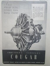 2/1946 PUB ARMSTRONG SIDDELEY MOTORS COUGAR RADIAL ENGINE MOTEUR ORIGINAL AD