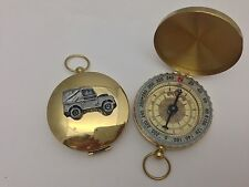 Land Rover Series 1 SWB ref112 pewter effect car emblem on a Golden Compass