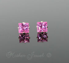 5mm REAL SOLID 925 STERLING SILVER Pink CZ Princess Cut Square Earrings Studs