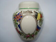CWW1 COPELAND SPODE SMALL CHINA LIDDED JAR WITH PICS OF MILITARY & ALLIED FLAGS