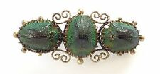 Antique Ornate Victorian 800 Silver Genuine 3 Scarab Beetle Brooch