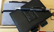 BILLABONG  Black GENUINE LEATHER Crypt BiFold Wallet Agenda + Pen BNWT  RRP $80