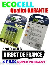 4 Piles AAA 1900mAh ECO Rechargeable 1.2 Mignon Ni-Mh  TRES PUISSANT - DE FRANCE