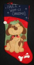 "Have a Wuff-ly Christmas Felt Stocking 18"" Christmas Holiday Dog Pet Puppy"