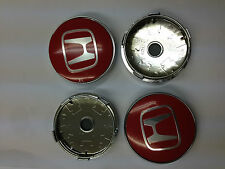 Set of 4 HONDA Face 60mm Clip 56mm ALLOY WHEELS CENTER CAPS SET [ Red ],