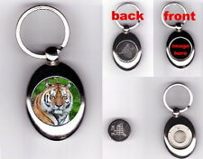 TIGER TROLLEY COIN TOKEN KEYRING - ANIMAL BIG CAT LOVER PHOTO GIFT