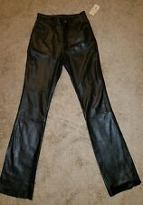 Nwt Womens Wilsons Soft Black Leather High Rise Pants Size 4 Unhemmed