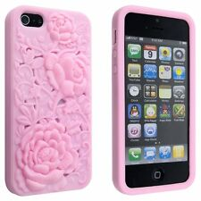 iPhone 4/G/S Pink 3D Sculpture Design Rose Flower Case -Screen Protector & Cloth