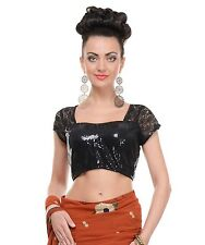 Fashion Blouse - Women Short Sleeve Black Sequin Latest Saree Dress Top 38""