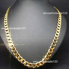 "10MM 24K Yellow Gold Filled 23.6"" Men's Jewelry Chain (Curb) Necklace AU S18-n"