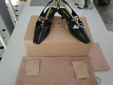 New sz 36 Prada CALF SKIN LEATHER Pointy Toe Classic Pumps Low Heel Shoes USA 6