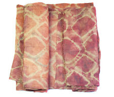 XL Antique tie dye flat weave pink raffia Kuba cloth - Congo K120