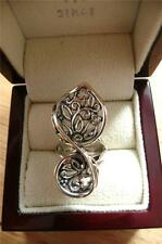 LARGE LONG 925 STERLING SILVER AJOURE FLORAL DESIGN RING SZ P US 8 12 GRAMS