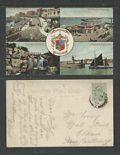 1909 RAMSGATE COAT OF ARMS + 4 SMALL VIEWS ENGLAND UK POSTCARD DOUBLE RING CANC