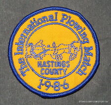 INTERNATIONAL PLOWING MATCH HASTING COUNTY 1986 EMBROIDERED PATCH UNIFORM 3""