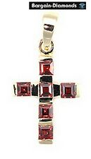 red garnet Christian Cross 10K yellow gold pendant birthstone christening
