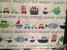 NEW MAX STUDIO TWIN SHEET SET ~ FISH BOAT CAR BUS TRAVEL ~ BLUE GREEN RED