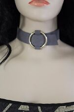 New Women Gray Fabric Choker Fashion Necklace Strap Gold Metal Ring Faux Leather