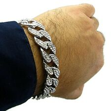 "Miami Cuban Link Cz 15mm Full Iced-Out Hip Hop Silver Tone 8"" In Chain Bracelet"