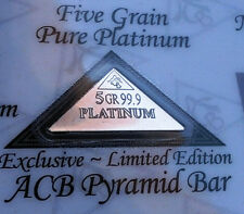 ACB Platinum Pyramid 5GRAIN BULLION MINTED BAR 99.9 Pure Certificate included !!