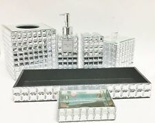 BELLA LUX 6 PC CLEAR GEM+MIRROR MOSAIC SOAP DISPENSER+DISH+TOOTH+TRAY+JAR+NAPKIN