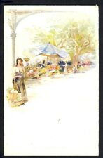 CARTE POSTALE Illustration Litho signée E. LESSIEUX Le Marché aux Fleurs de NICE