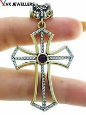 Handmade Religious Blessing Ruby Holy Cross Pendant 925 Sterling Silver P3136