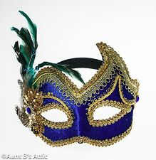 Mardi Gras Mask Gold & Royal Blue Decorative Eye Mask With Feathers On Headband