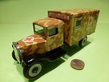 TIN TOYS BLECH VINTAGE MILITARY TRUCK - AMBULANCE - ARMY CAMOUFLAGE SAHARA - VG