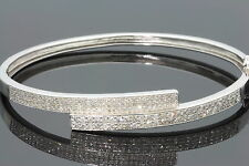 1.93 CARAT GENUINE DIAMONDS WOMENS LADIES WHITE GOLD FINISH PAVE BRACELET BANGLE