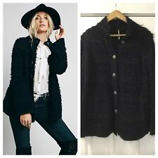 NEW Free People Swing Shaggy Sweater Coat Jacket Size XS Navy Blue