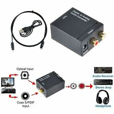 Digital Optical Toslink Coax to Analog L/R RCA Audio Converter Adapter +Cable WK