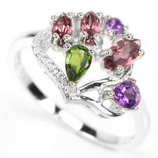 Natural CHROME DIOPSIDE RHODOLITE GARNET AMETHYST 925 STERLING SILVER RING S7.50