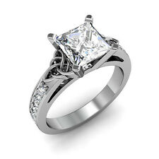 1.50 ct. Natural Princess Cut Celtic Knot Design Diamond Engagement Ring - GIA