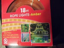 CHRISTMAS OR HALLOWEEN 18FT. AMBER COLORED ROPE LIGHTS  INDOOR / OUTDOOR HOLIDAY